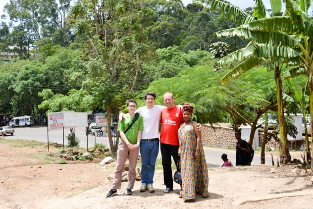 Elli, Tim, Kasimir and Eva after the arrival in Tanzania