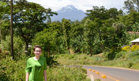 Elli in front of Mount Kilimanjaro
