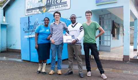 Group photo in front of the NanoFilter building in Arusha